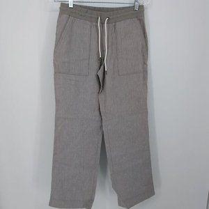 Athleta 6 Pants Linen Heather Gray Stripe Drawstri